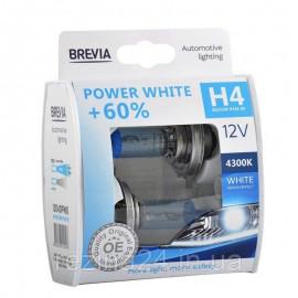 Комплект галогенних ламп Brevia H4 Power White 12040PWS 12V 60/55W