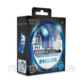 Комплект галогенних ламп Philips ColorVision Blue 12342CVPBS2 H4 3350K