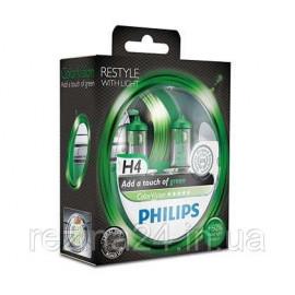 Комплект галогенних ламп Philips ColorVision Green 12342CVPGS2 H4 3350K