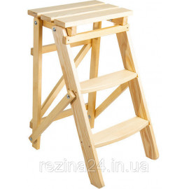Стрем'янка побутова дерев'яна LOFT 3 ступені, натуральний дерев'яний (WSL00100)