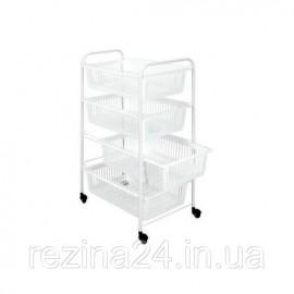 Етажерка 4-х рівнева JUMBOTEX METALTEX з пластиковими кошиками 35*46*76см, білий (341904)