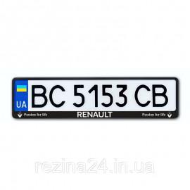 Рамка номера CarLife для Renault чорний пластик (NH184)