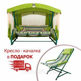"""Гойдалки """"Аліса"""" (Двостороння, Зелений олефін + Дралон вертикальна смуга) в подарунок Крісло-гойдалка"""
